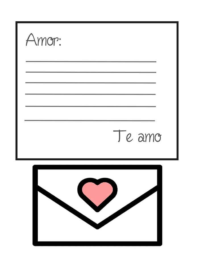 plantilla de carta de amor para recortar