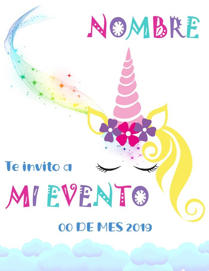 tarjeta de invitación de unicornio