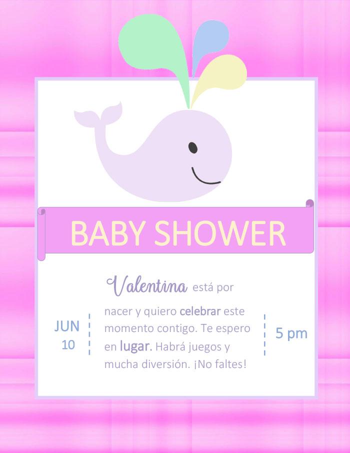 Tarjeta De Invitación De Baby Shower Para Editar Niña Y
