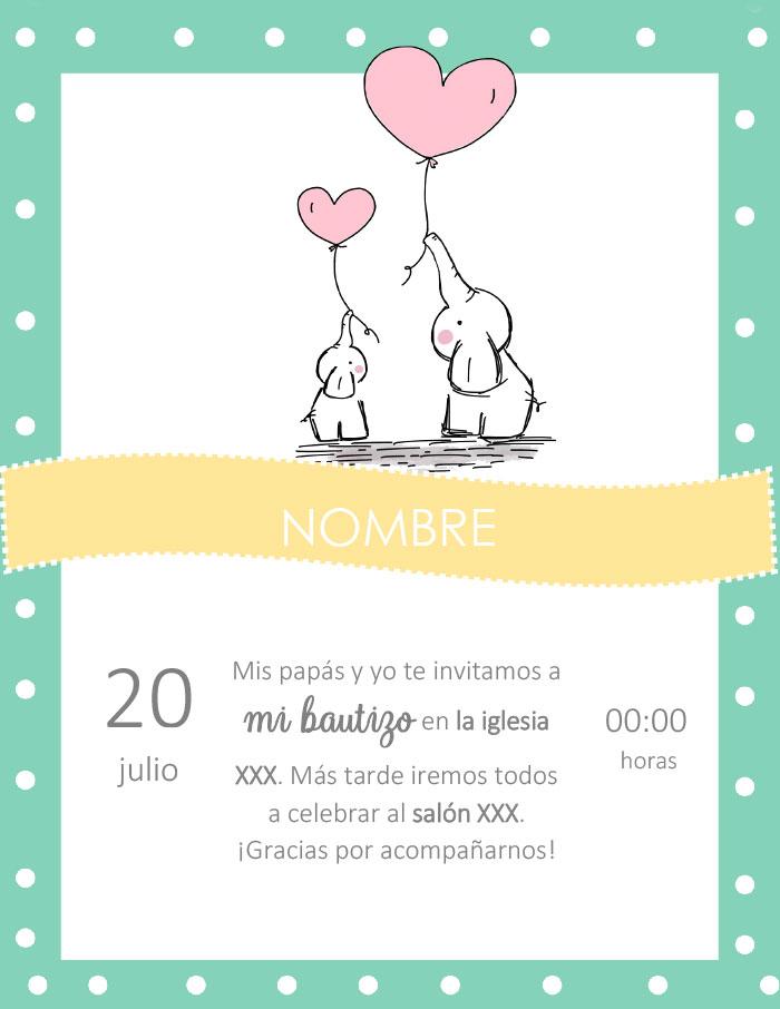 Tarjeta De Invitación De Bautizo En Word Para Editar E