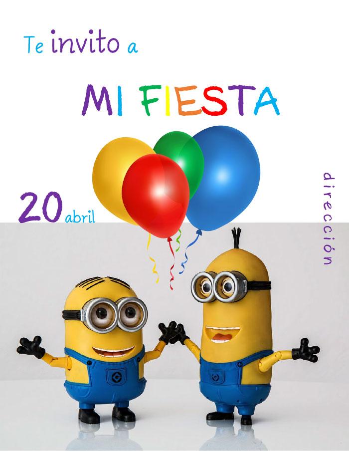 tarjeta de invitación para cumpleaños infantil